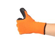 Thumbs up with a orange rubber glove Royalty Free Stock Photos