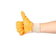 Thumbs up with a orange rubber glove. Royalty Free Stock Image