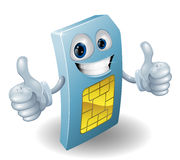 Thumbs up phone sim card person Royalty Free Stock Images