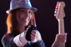 Thumbs up for pop music live Royalty Free Stock Photos