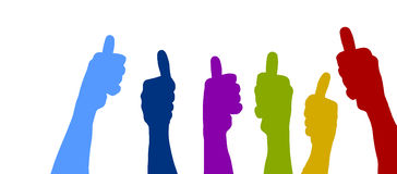 Thumbs up rainbow colored Royalty Free Stock Images