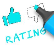 Thumbs Up Rating Displays Performance Report 3d Illustration. Thumbs Up Rating Displaying Performance Report 3d Illustration Stock Photography