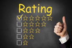 Thumbs up rating stars chalkboard Royalty Free Stock Photography