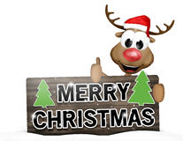 Thumbs up reindeer wood sign Royalty Free Stock Image