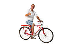 Thumbs up for riding bicycle Royalty Free Stock Photo
