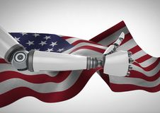 Thumbs up robot against fluttering american flag Stock Photos