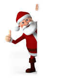Thumbs up Santa with blank sign. Cartoon Santa Claus giving thumbs up from behind a blank sign - high quality 3d illustration Stock Photos