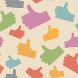 Thumbs up seamless pattern. background hands. Vector illustratio Stock Photography