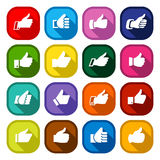 Thumbs up, set colored buttons Stock Photos