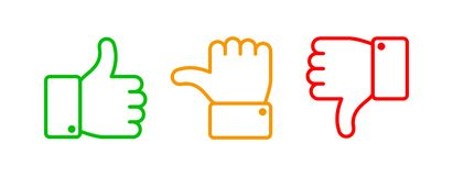 Thumbs up set. Green like red dislike and yellow undecided line icons. Thumb up and down vector outline isolated web. Thumbs up set. Green like red dislike and vector illustration