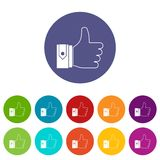 Thumbs up set icons. In different colors isolated on white background Royalty Free Stock Photos