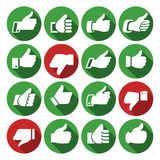 Thumbs up, set icons on round buttons Royalty Free Stock Image