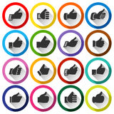 Thumbs up, set round buttons Royalty Free Stock Photos