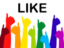 Thumbs Up Shows Social Media And Approval Stock Photo