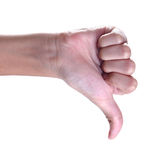 Thumbs up sign against white background ,Unlike Royalty Free Stock Photography