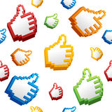 Thumbs Up Sign Computer Cursor Pattern Background. Vector Stock Image