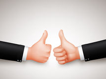Thumbs Up Sign of Two Professional Businessman Hands for Agreements Royalty Free Stock Photo