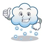 Thumbs up snow cloud character cartoon Royalty Free Stock Photography