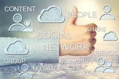 Thumbs Up with Social Media Concepts. Social Media Concepts with Thumbs Up on Big City and Sky Background Stock Images