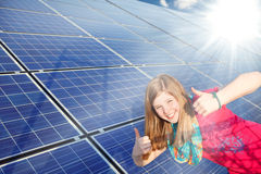 Thumbs up for solar power royalty free stock photo