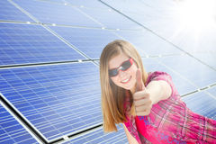 Thumbs up for solar power royalty free stock photos