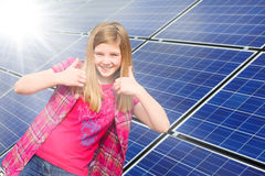Thumbs up for solar power Stock Image