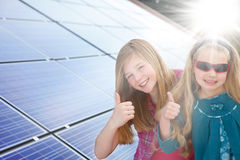 Thumbs up for solar power stock images