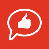 Thumbs up in the speech bubble icon. Social network and web communicate, like symbol. Flat Royalty Free Stock Photography