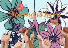 Thumbs up spring vector illustration