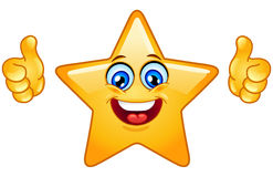 Thumbs up star. Smiling star showing thumbs up