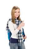 Thumbs up student teenager woman with shoolbag Stock Image