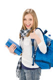 Thumbs up student teenager woman with shoolbag Stock Images