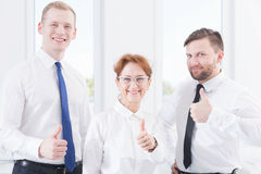 Thumbs up! Success is ours! Stock Image
