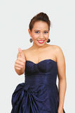 Thumbs up - sweet woman Stock Images