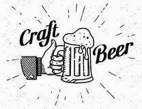 Thumbs up symbol icon with craft beer mug Stock Image