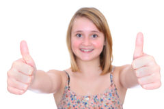 Thumbs up teen girl stock images