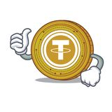 Thumbs up Tether coin character cartoon. Vector illustration Stock Photo