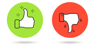 Thumbs Up and Thumb Down Buttons. Thumbs up and down buttons. Red and green color. Simple vector icons Royalty Free Stock Photo