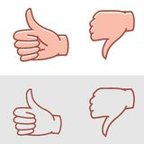 Thumbs up or thumbs down Stock Photo