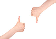 Thumbs up and Thumbs down. Isolated on white stock images