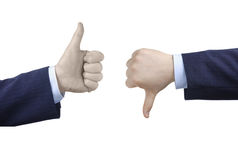 Thumbs up and thumbs down Stock Image