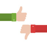 Thumbs up and thumbs down in flat style. Positive and negative feedback. Good and bad gestures. Like and dislike concept. Vector illustration Royalty Free Stock Photography