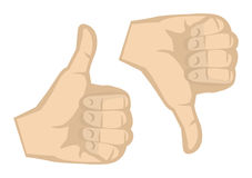 Thumbs Up and Thumbs Down Hand Gestures Vector Illustration Stock Image