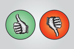 Thumbs up and thumbs down illustration Royalty Free Stock Images