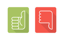 Thumbs up, thumbs down. Labels with symbols thumbs up, thumbs down, two vector icons Royalty Free Stock Photo
