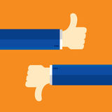 Thumbs up and thumbs down. Like and dislike concept communication Royalty Free Stock Images