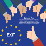 Thumbs up and thumbs down, like and dislike concept. Europe exit vote concept. Thumbs up and thumbs down, like and dislike concept. European Union exit vote Royalty Free Stock Photos
