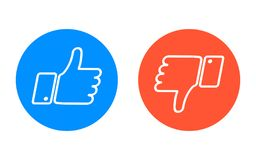 Like and dislike icons set. Thumbs up and thumbs down. Like and dislike icons set. Vector illustration Royalty Free Stock Image