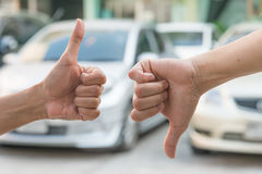 Thumbs up and thumbs down. Like and dislike. Yes and no concept. Royalty Free Stock Images