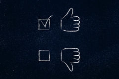 Thumbs up or thumbs down, positive case ticked Royalty Free Stock Photos